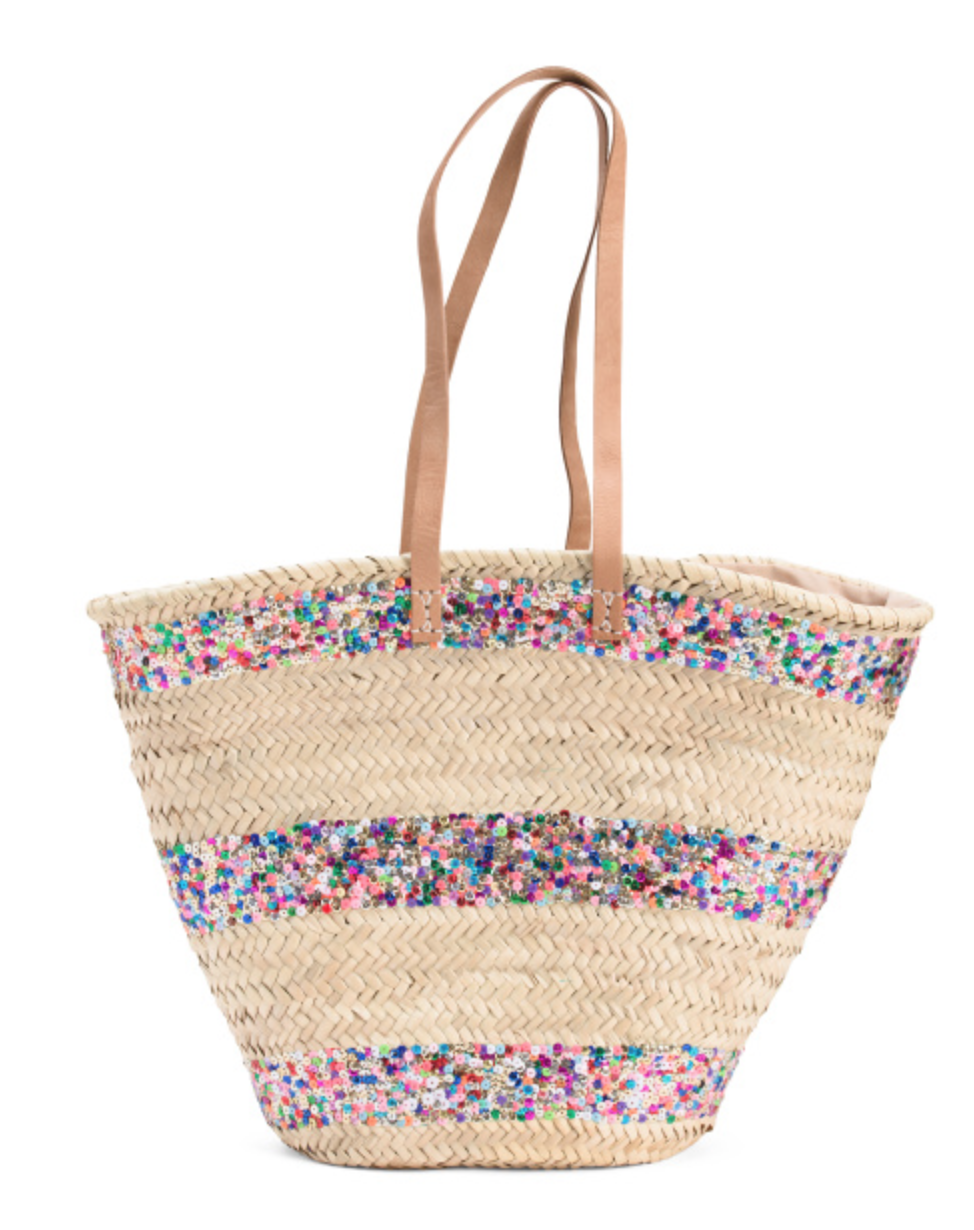 STRAW STUDIOS Handmade Morocco Raffia Tote With Leather Handles