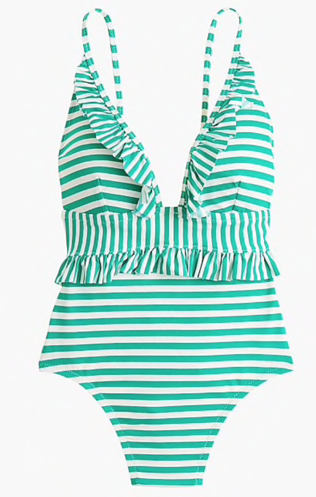 J. Crew Ruffle Plunging One-Piece in Mixed Stripe