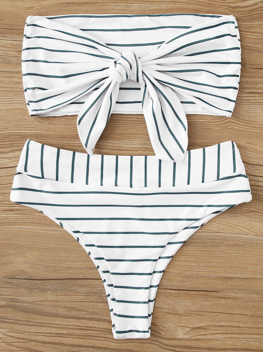 Shein Striped Tie Front Bandeau With High Waist Bikini Set