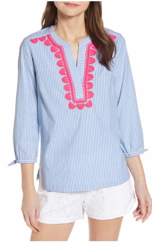 Vineyard Vines Savannah Stripe Embroidered Top