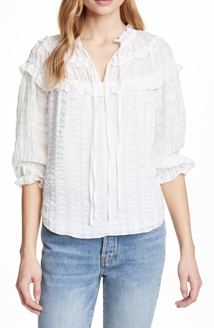 Rebecca Taylor Stripe Ruffle Silk Top