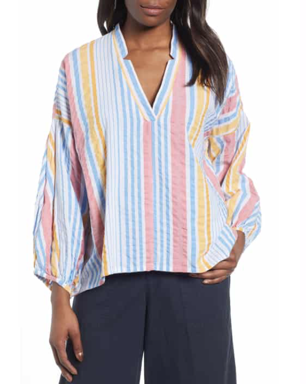 Lou & Grey Striped Seersucker Poet Blouse