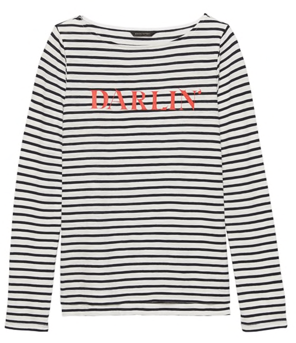 Banana Republic Slub Cotton-Modal Graphic Stripe T-Shirt