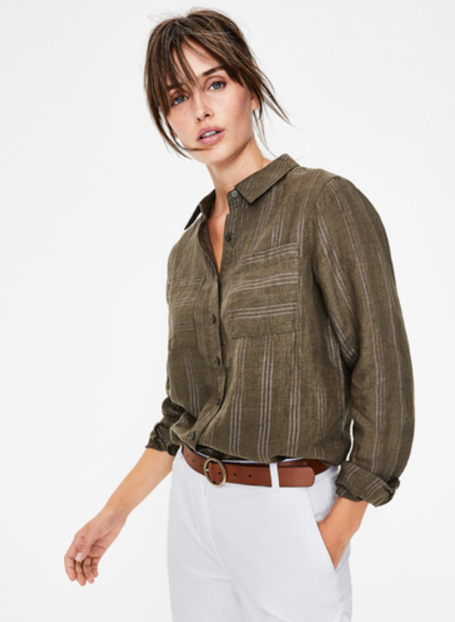 Boden Linen Shirt (Khaki & Rose Gold Lurex Stripe)