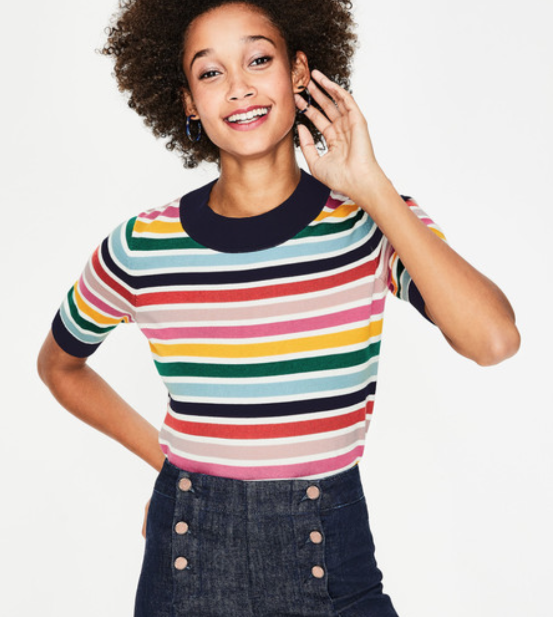 Boden Colour Detail Knitted Tee (Multi Stripe)