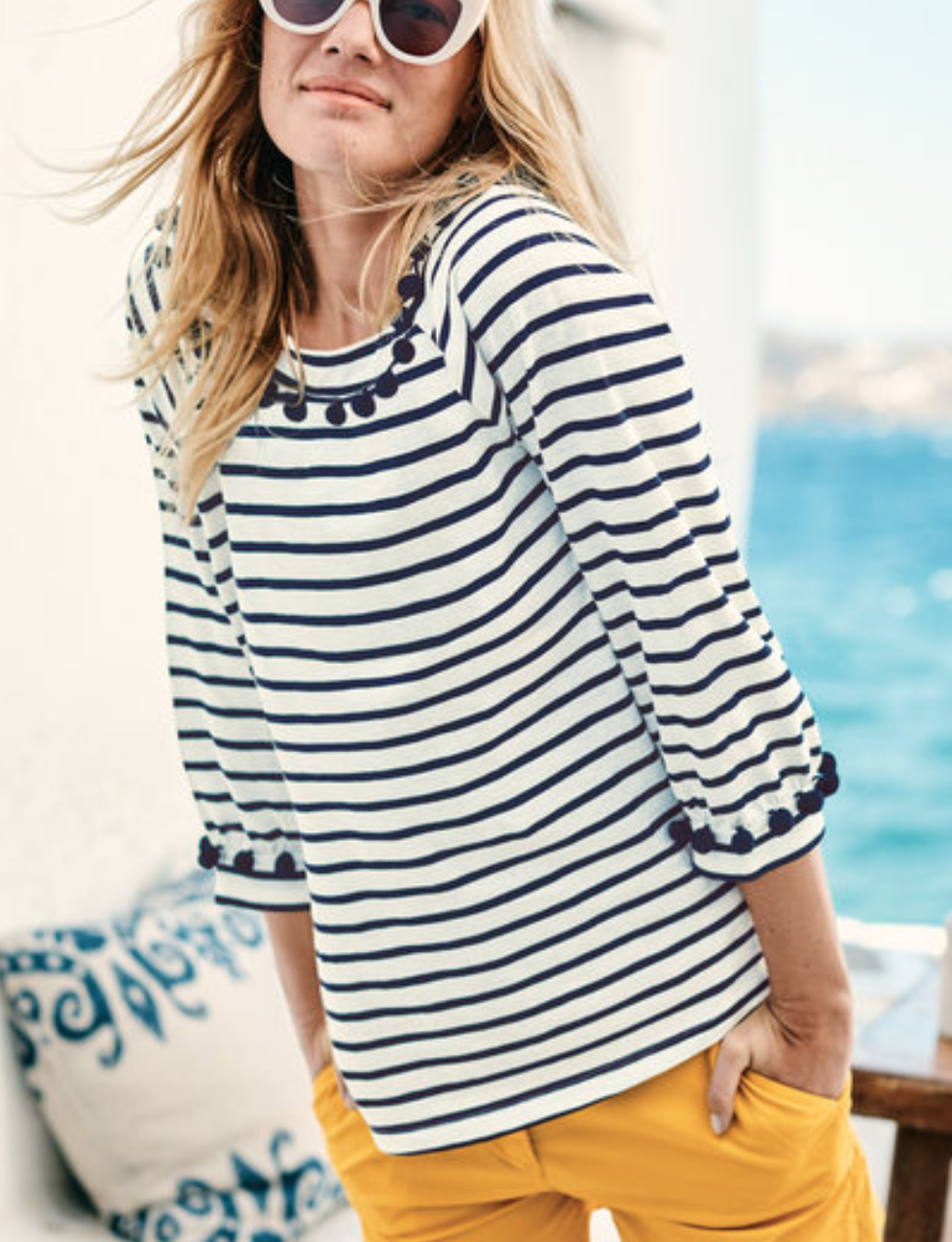 Boden Rosemary Jersey Top (Ivory/Navy)