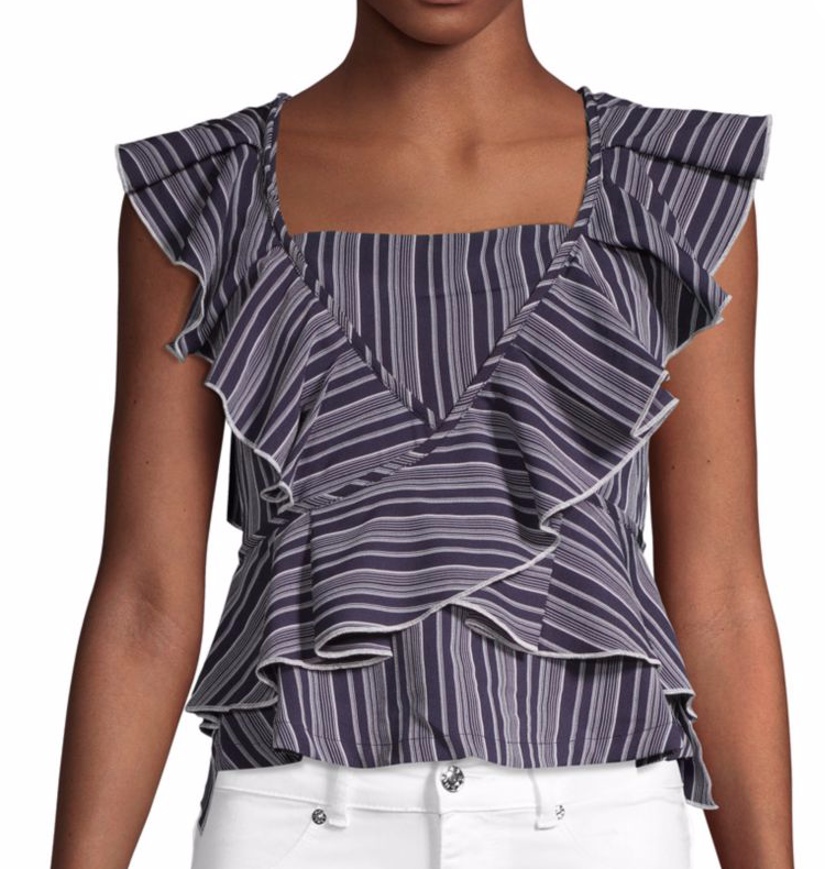 English Factory Striped Ruffle Top in Night Sky