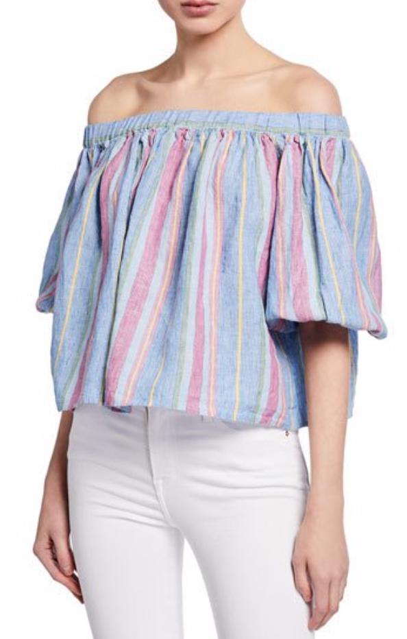 Frame Off-the-Shoulder Striped Linen Top