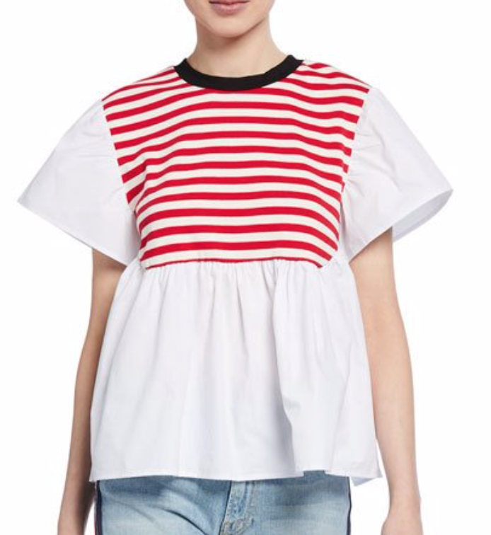 English Factory Short-Sleeve Striped Poplin Top