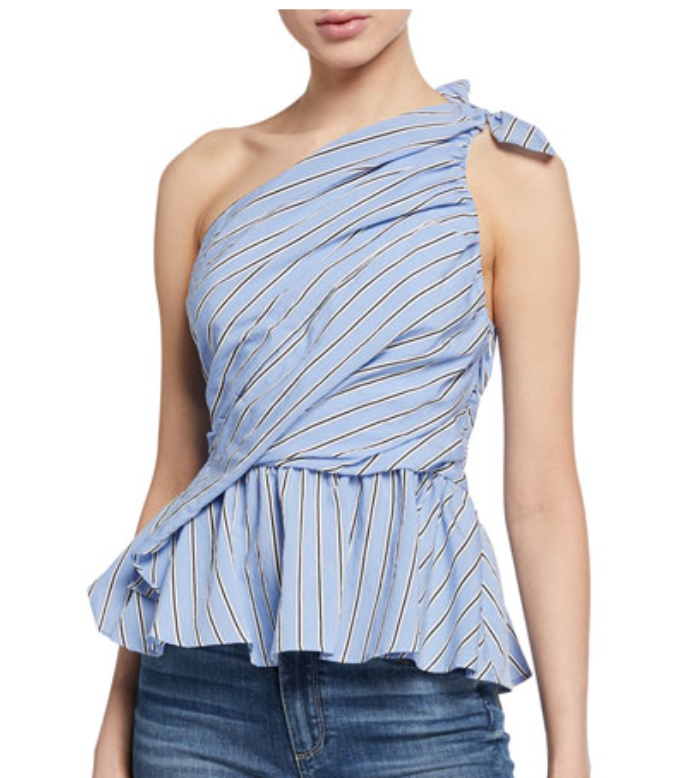 A. L. C. Soraya One-Shoulder Striped Peplum Blouse
