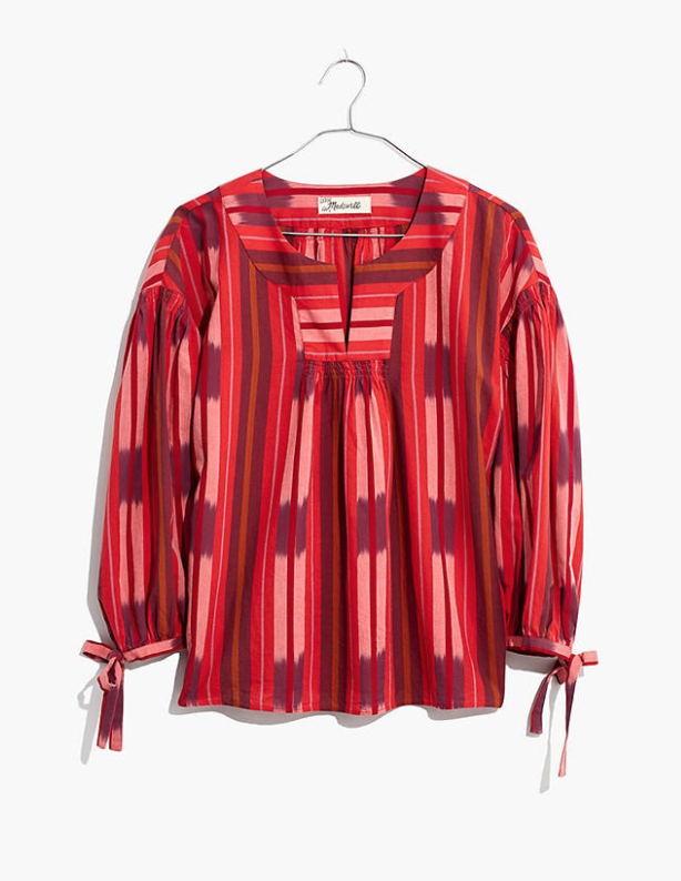 Madewell Ikat Peasant Popover Top