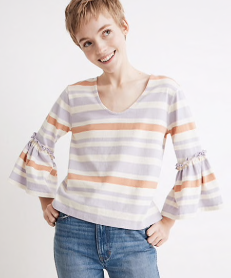 Madewell Ruffle-Sleeve Top in Fairhaven Stripe