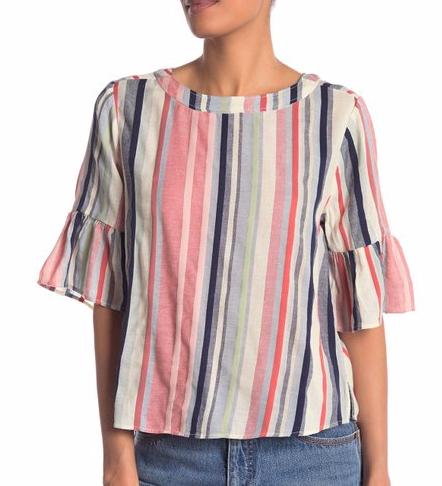 Susina Ruffle Sleeve Striped Boxy Tee