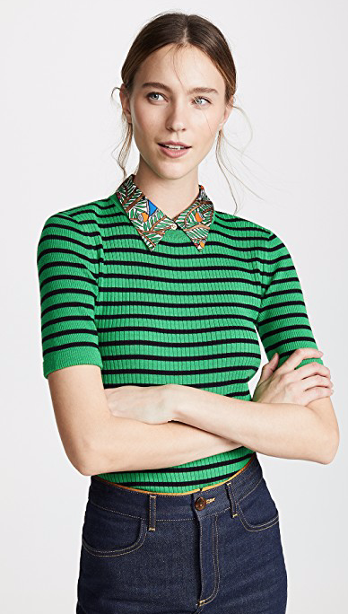Tory Burch Woven Collar Sweater