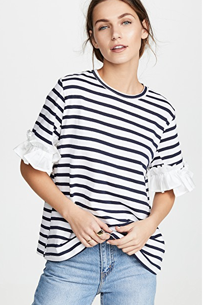 Clu Stripe T-Shirt with Ruffles