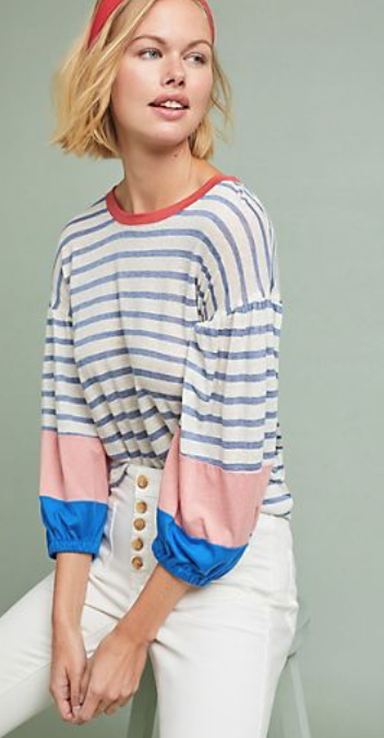 Anthropologie Splendid Chambray Striped Tee