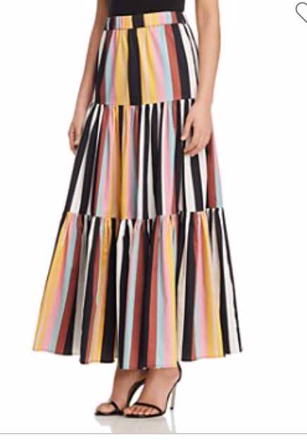 Tory Burch Printed Striped Cotton Maxi Skirt