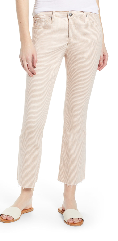 AG Jodi Pinstripe High Waist Crop Flare Jeans