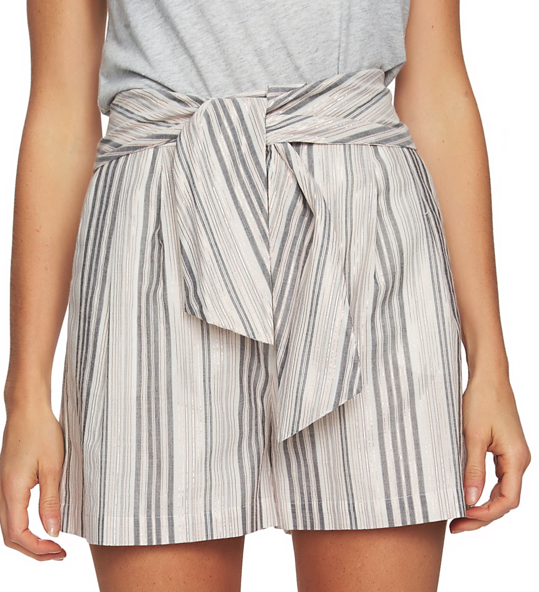 Cece Metallic Stripe Tie Waist Shorts