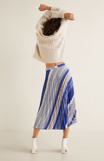 Mango Printed Pleated Skirt