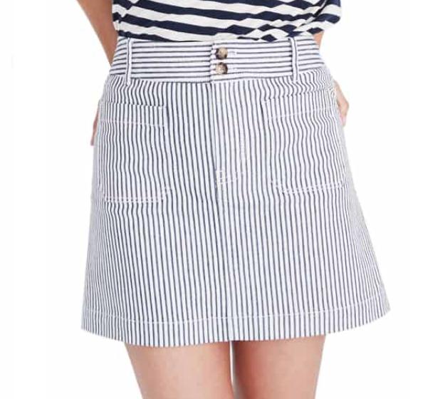Madewell Stripe Stretch A-Line Miniskirt