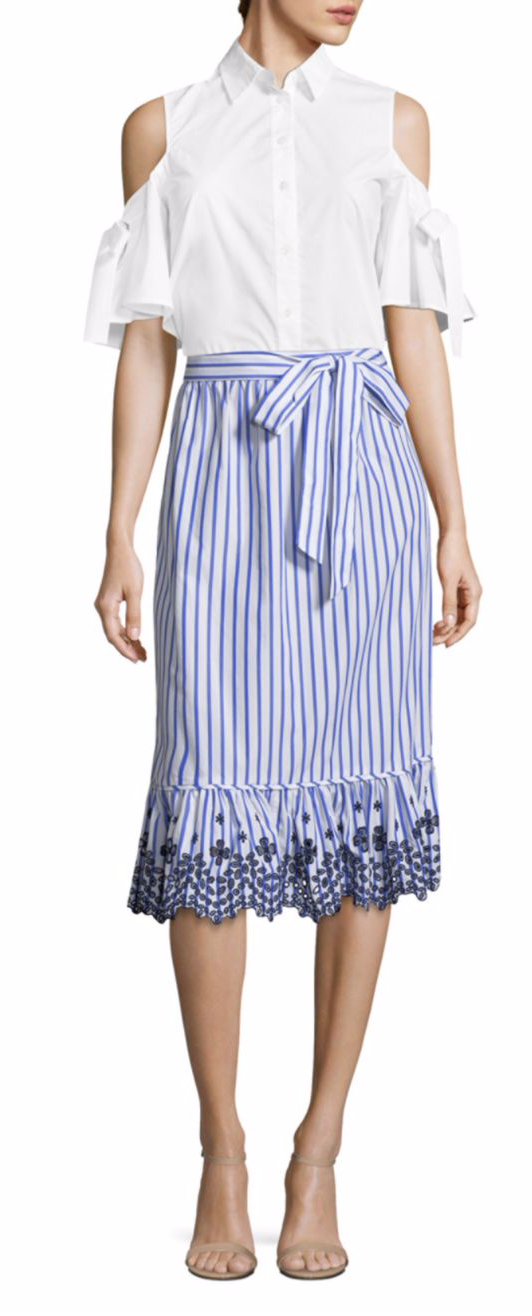 Draper James Stripe Eyelet Midi Skirt