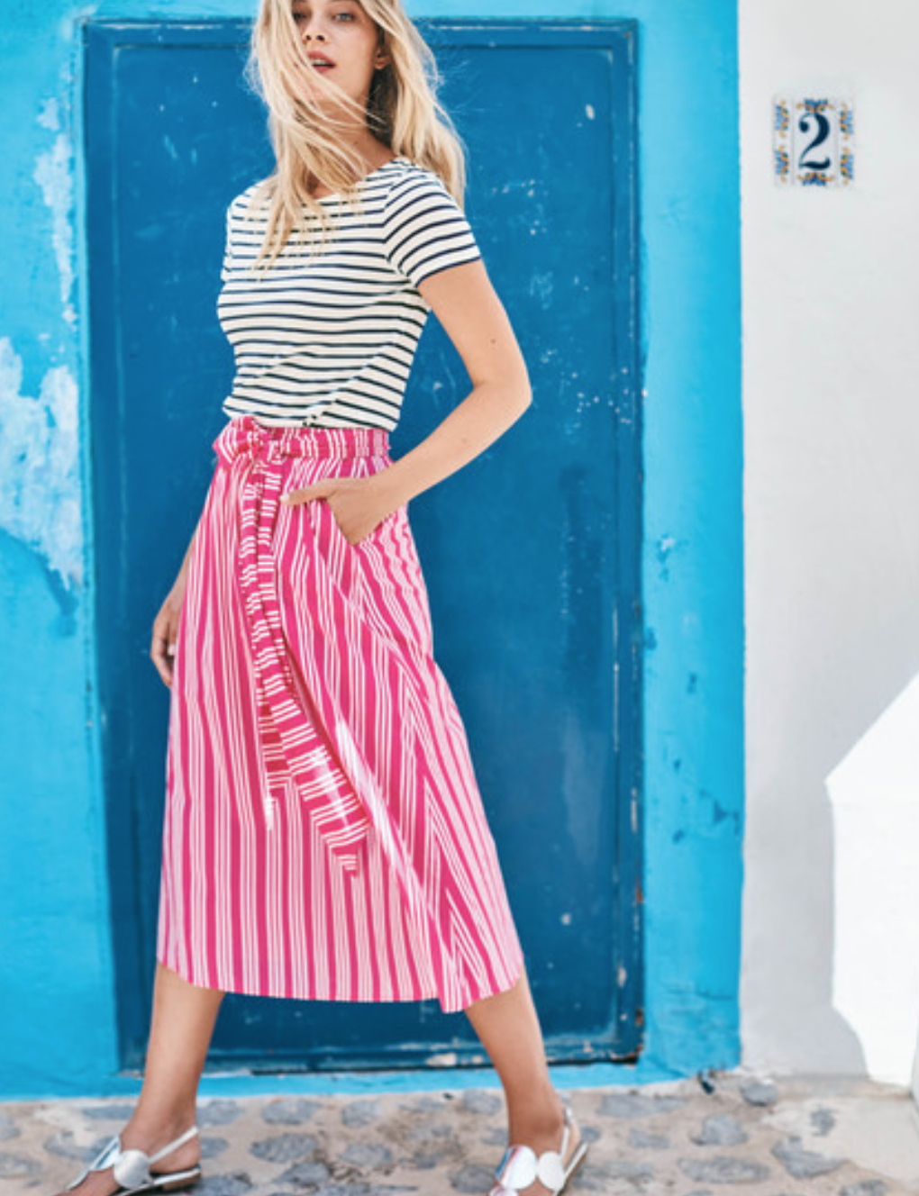 Boden Kiera Skirt (Party Pink and Ecru Stripe)