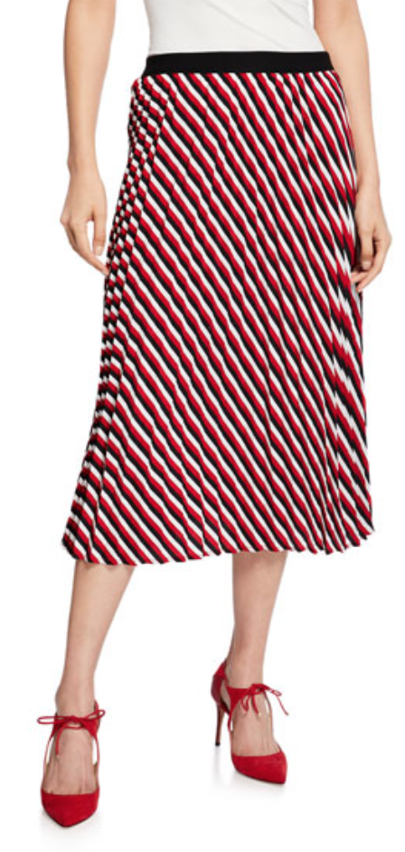 Black Tape Striped Accordion Skirt