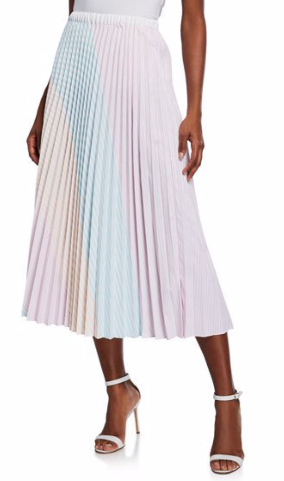 Petersyn Colorblocked Striped Pleated Midi Skirt
