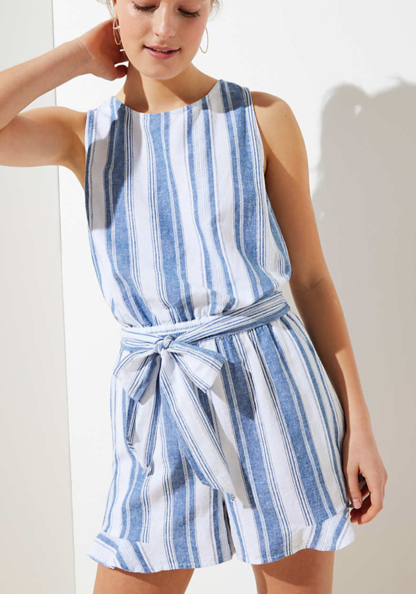 Loft Beach Striped Tie Waist Ruffle Romper