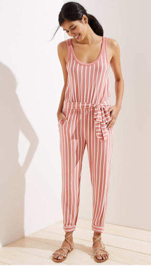 Loft Beach Striped Slim Tie Waist Jumpsuit