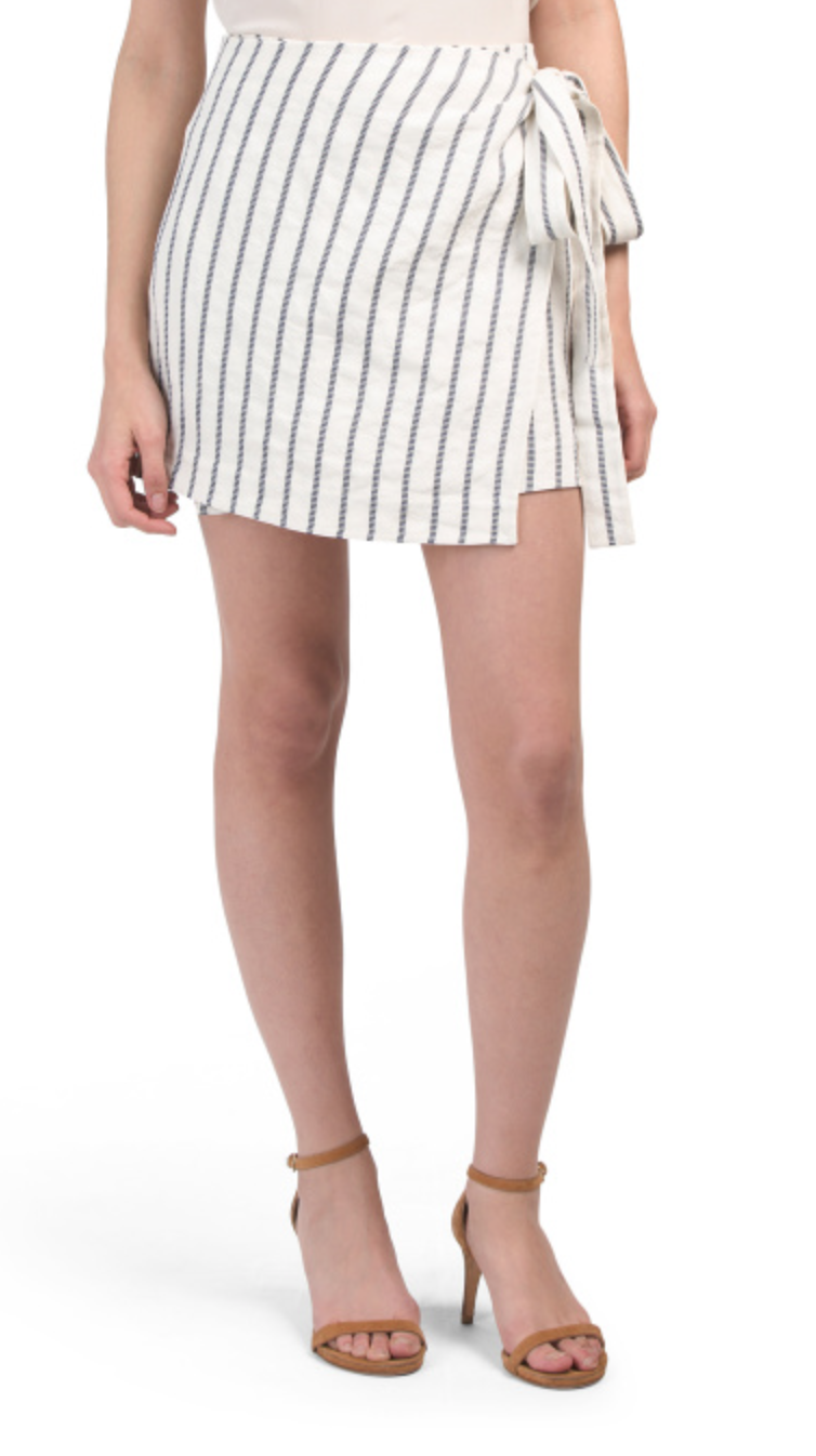 Theory Linen Blend Wrap Tie Skirt