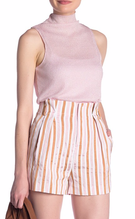 Frame Denim Striped Pleat Shorts
