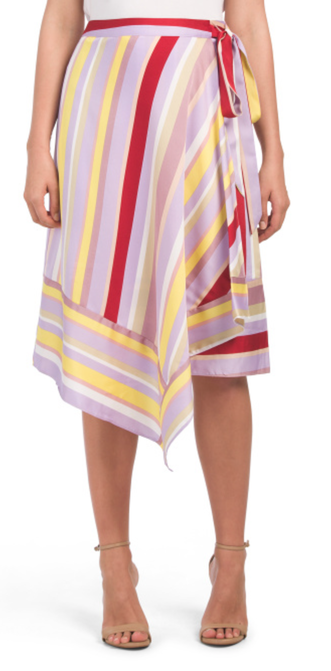 Lucy Multi Stripe Midi Wrap Skirt