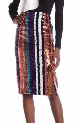 Gracia Striped Sequin Pencil Skirt