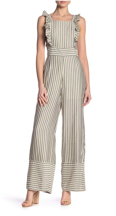 Free Press Striped Apron Front Ruffled Jumpsuit