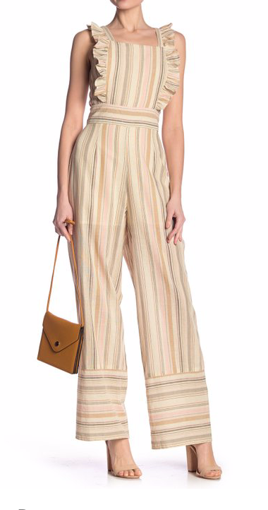 Free Press Striped Apron Front Ruffle Jumpsuit