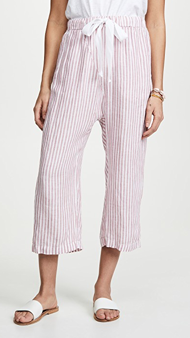 Stateside Linen Shirting Pants in Poppy Railroad Stripe