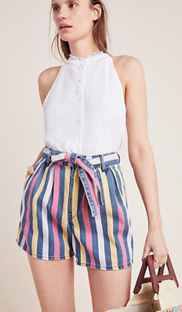 Anthropologie 3x1 Dustin Striped Denim Shorts