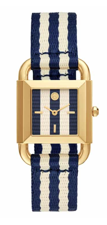 Tory Burch Phipps Stripe Woven Strap Watch