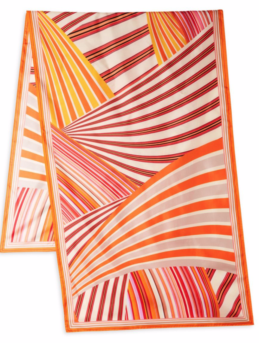 Missoni Multi Stripe Silk Scarf in Orange