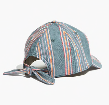 Madewell Rainbow Stripe Tie-Back Baseball Cap