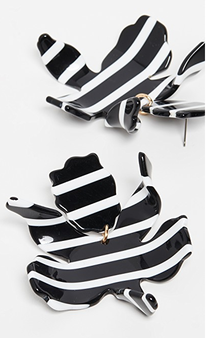 Lele Sadoughi Paperlily Earrings Black and White Stripe