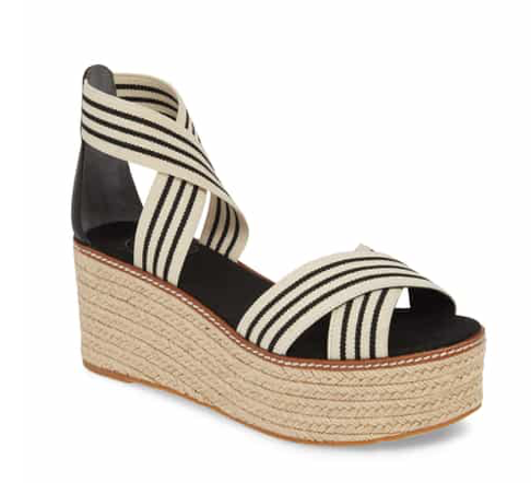 Tory Burch Frieda Espadrille Platform Sandal in Black and White Stripe
