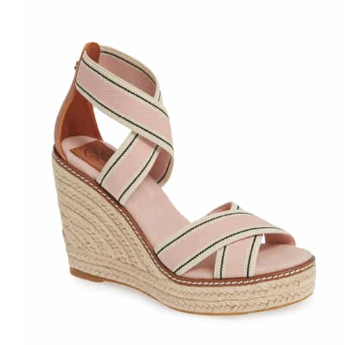 Frieda Espadrille Wedge Sandal in Blush Stripe