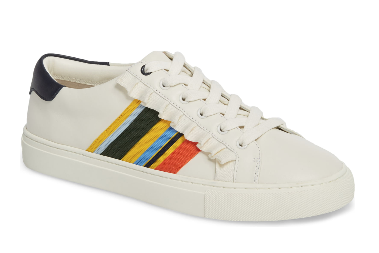 Tory Burch Sport Ruffle Striped Low-Top Sneakers