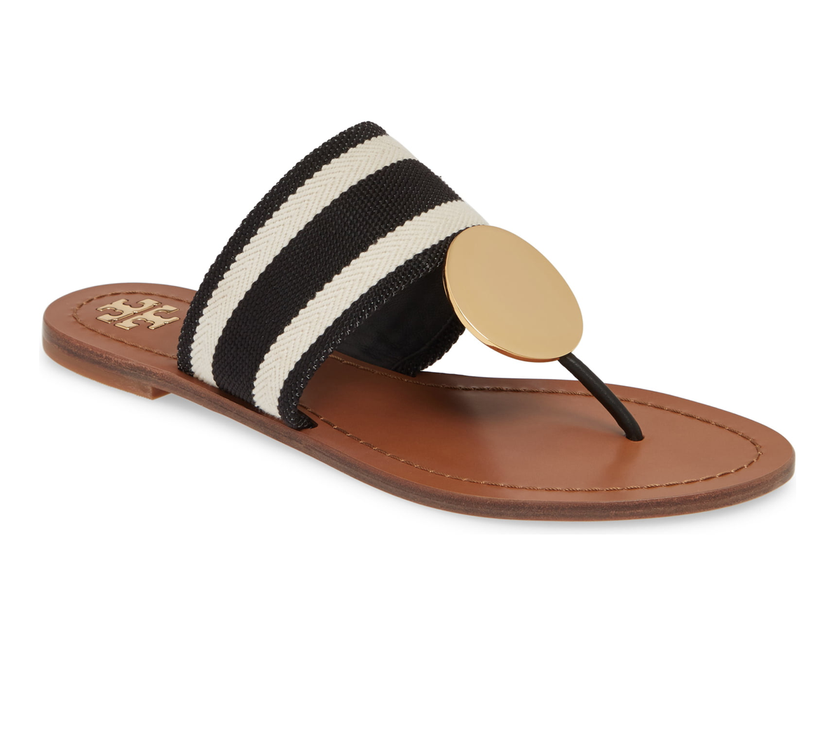 Tory Burch Patos Disk Web Strap Leather Sandals