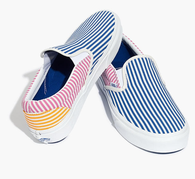 Madewell Vans® Unisex Classic Slip-On Sneakers in Mix Stripes
