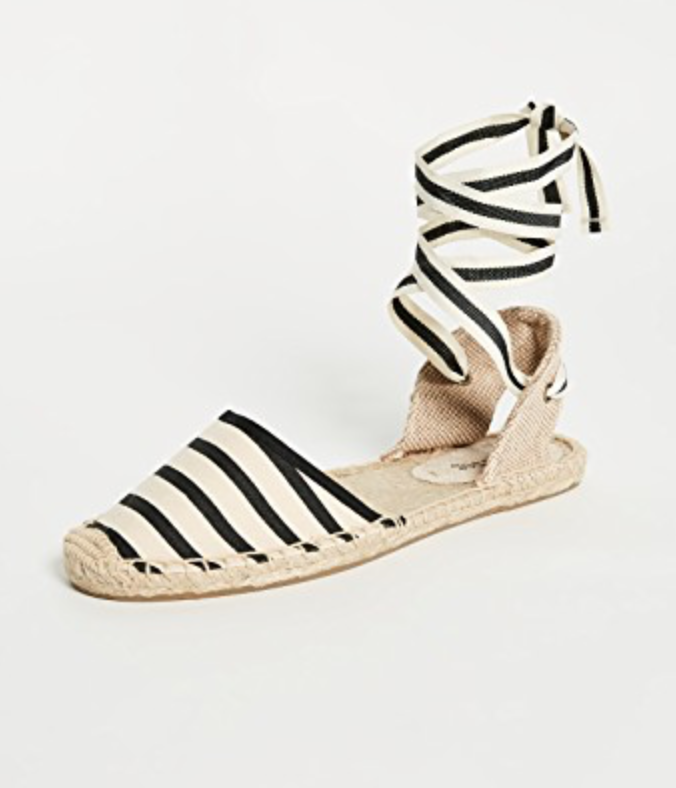 Soludos Striped Espadrille Sandals in Natural/Black Stripe