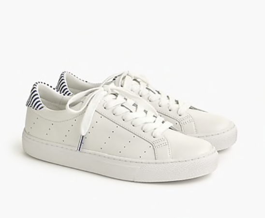 J. Crew Saturday Sneakers in Leather with Stripe Detail
